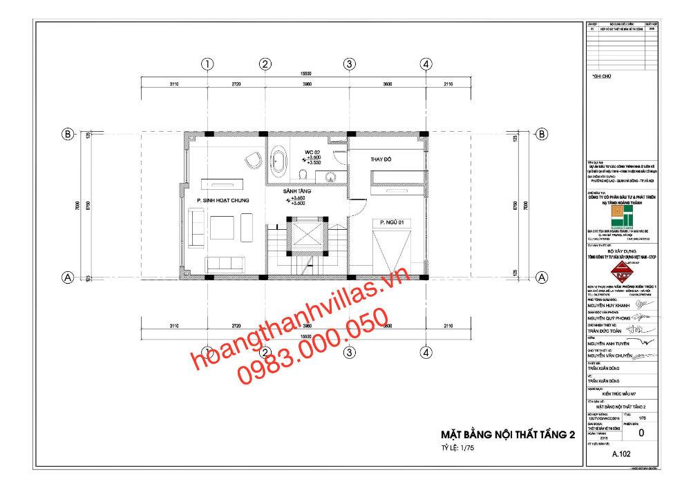 thiet ke tang 2 lo lien ke TT02A4 du an Hoang Thanh Villas